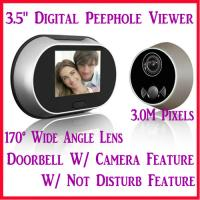 "Quality 3.5"" Digital Door Peephole Viewer Doorbell Photo Camera W/ 3.0M Pixel & 170° Wide Angle for sale"