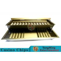 China 15 Row Metal Casino Chip Tray With Two Layer , Casino Chip Holder With Lock Cover wholesale
