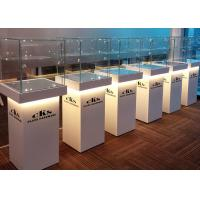 China Elegant Wooden Glass Display Cabinets Pre - Assembled Structure With LED Lighting wholesale