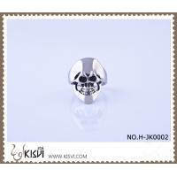 China Best selling 316l stainless steel skull ring with black enamel H-JK0002 wholesale
