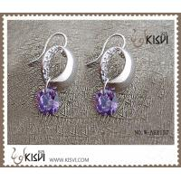China Plating with rhodium / gold sterling silver gemstone earrings with zircon W-AS1157 wholesale