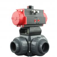 China PVC Plastic Actuator Pneumatic Ball Valve 2 Way / 3 Way With L Type T Type wholesale