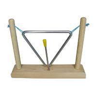 China Iron Frame Triangle Toy Musical Instrument With Wood Stand Hand Percussion Wooden Toy wholesale