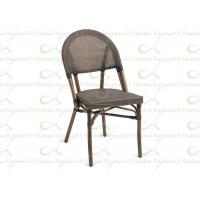 China Outdoor Dining Chairs Black Faux Bamboo Textilene Commercial Restaurant Chair wholesale