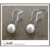 China 925 fashion sterling silver gemstone earrings with immitation pearl W-AS1172 wholesale