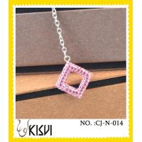 China Low MOQ fashion pink square handcrafted crystal jewelry / shamballa necklace wholesale