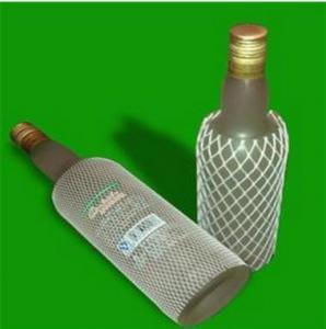 China Expandable PE Plastic Protective Mesh Liquor Bottle Sleeves , White wholesale