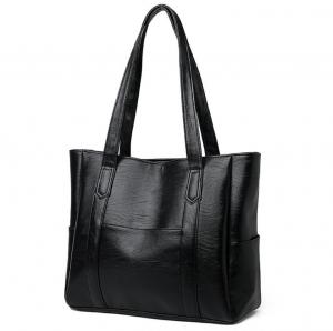 China Black Classic Zipper Ladies Tote Bags With PU Leather wholesale