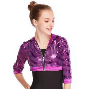 China MiDee Sequins Hoodies Hip Hop Performance Dance Top Short Jacket For Girls wholesale