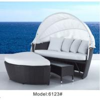 China Patio furniture rattan wicker daybed with ottoman & coffee table ---6123 wholesale