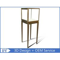 China Manufacturer oem top grade fully assemble  brush stainless steel glass pedestal display stand with lights wholesale