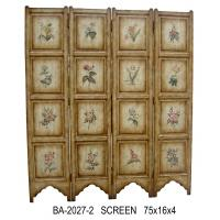 China Vintage Countryside Carving 4 Panel Folding Screen Wooden Screen Room Divider wholesale