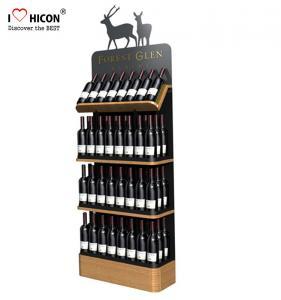China Freestanding Custom Wooden Wine Display Rack For Liquor Store Advertising on sale