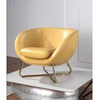 China Leather Upholstered Modern Furniture Chairs , Yellow Leisure Lounge Chairs on sale