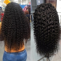 Buy cheap 6A Transparent Lace Front Human Hair Wigs Deep Wave Curly from wholesalers