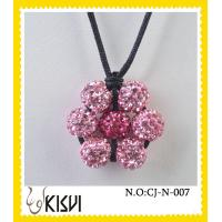 China OEM / ODM custom fashion red & pink flower shamballa handcrafted crystal jewelry necklace wholesale