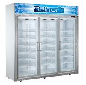 China Vertical Supermarket Display Refrigerator , Three Glass Door Commercial Fridge Freezer on sale