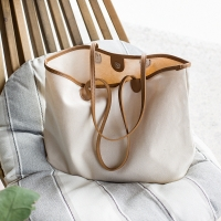 China OEM Cotton Canvas Shoulder Tote Bags With PU Edge wholesale