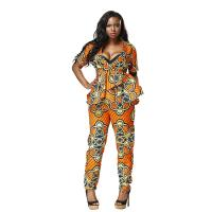 China Mosaic Dashiki African Print Jumpsuit Styles 100 Percent Cotton Customized Size wholesale