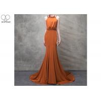 China Orange Mermaid Ladies Party Wear Gown Long Tail Blue Beads Hanging Neck wholesale