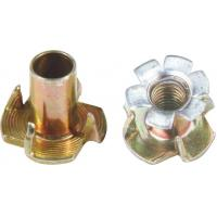Carbon Steel 4 Pronged Tee Nut , M5 - M10 T Nut Inserts Zinc Plated Finish