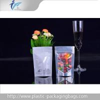 China Heat seal ziplock top Stand Up Pouches with plastic candy packaging clear window on sale