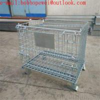 China folding storage cages with castors used for supermarket ane warehouse/ Pallet Storage Wire Mesh Cage wholesale