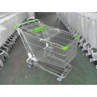 China 180 Liter Steel Wire Grocery Store Shopping Cart , 4 Wheel Shopping Trolley wholesale