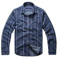 China Classical Blue Vertical Stripes Cotton Shirts (LC-666) wholesale