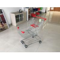Quality Red Wire Shopping Trolley With zinc plated clear coating 80L Asian Style for sale