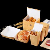 China Collapsible Fried Chicken Takeaway Boxes Kraft Paper Material Vent Hole Design wholesale