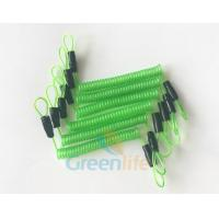 China 70CM Long Steel Wire Spring Spiral Coil Cable Transparent Green With Double Cord Loops wholesale