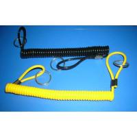 China Black yellow spiral cord extention tool holder with 2loops & 2split rings end safety ropes wholesale