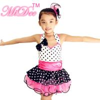 China Sweet Heart Neckling Tiered Layered Skirt Polka Dots Children'S Dance Costumes wholesale