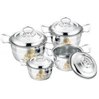 China High Polishing Kitchen Cookware Sets Stainless Steel Customized Logo With Lid on sale
