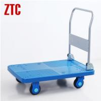 China Plastic mute foldable platform trolley,folding plastic noiseless hand trolley on wheels on sale