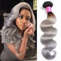 China Body Wave Thick Ombre Human Hair Extensions 40 Inch Grey For Women wholesale