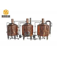 China 500L Brewpub And Micro Brewery Equipment Three Vessles Red Copper Material wholesale