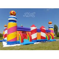 Rainbow Color Inflatable Bouncy Castle Candy World Giant With CE Blower