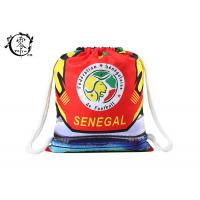 China Printed Cotton Rope Drawstring Bookbag , Large Sized Sports String Strap Backpack wholesale