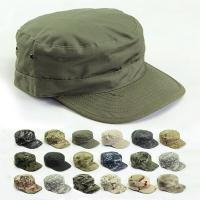 Buy cheap 2019 Vintage Military Hats Cotton Men Women Flat Top Cap Solid Color Summer from wholesalers