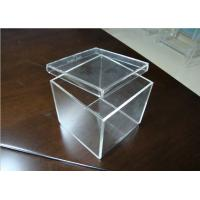 China Clear Acrylic Display Case , Cube Acrylic Storage Case With Lid wholesale