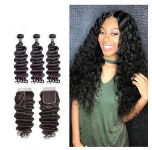 China 12 Inch Virgin Indian Human Hair Weave / Closure Deep Wave Bundles wholesale