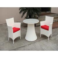 China Hand-Woven Poly Rattan Garden Dining Sets With White Cushion wholesale