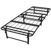 China Adjustable black wire mesh metal frame bed queen size long lasting folding metal bed wholesale