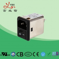 China IEC inlet socket snap-in compact Mains EMI Filter 250V for Coffee Equipment with switch wholesale