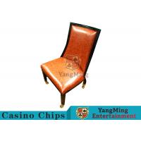 China Retro European Solid Wood Casino Poker Chairs With Soft Orange Leather Surface wholesale