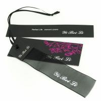 China Clothes Hang Tags Labels With Ribbon String For Lady Coat / Dress 4x8.5cm 5x9cm wholesale