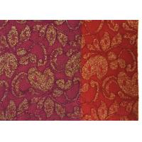 Quality Red Golden Embroidery Sequin Lingerie Lace Fabric For Wedding Dress , Decoration for sale