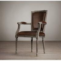 China Square Nailhead Back Cream Leather Dining Room Chairs With Oak Solid Wood wholesale